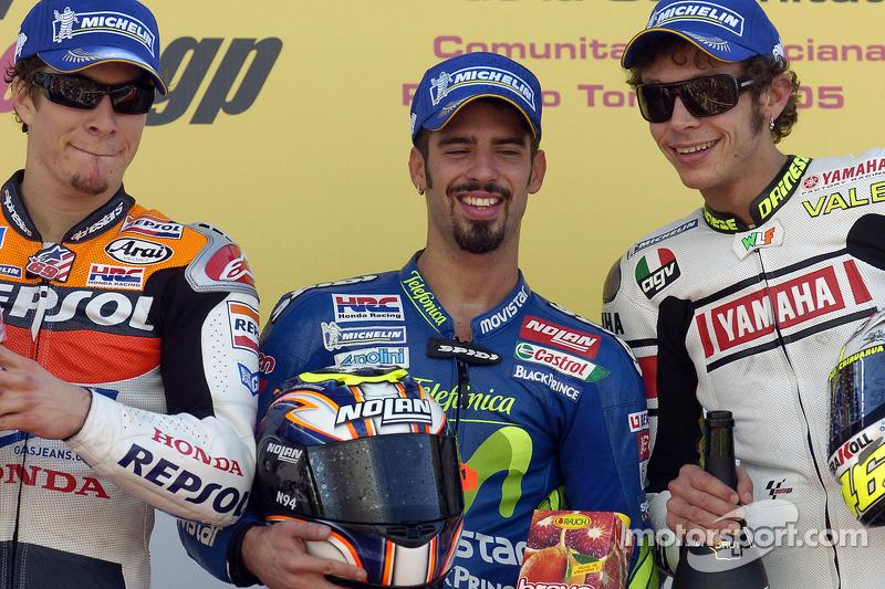 2005: 1. Marco Melandri, 2. Nicky Hayden, 3. Valentino Rossi
