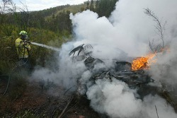 The Peugeot of Daniel Carlsson on fire