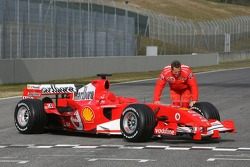 Michael Schumacher with the new Ferrari 248 F1