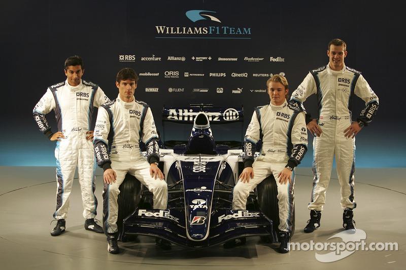 Narain Karthikeyan, Mark Webber, Nico Rosberg and Alexander Wurz with the new Williams FW28