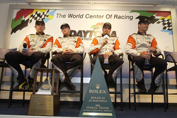 Post-race press conference for second place overall: Justin Wilson, Oswaldo Negri, Mark Patterson, A.J. Allmendinger