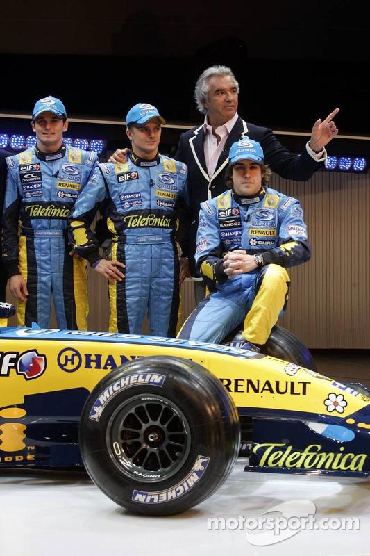 Giancarlo Fisichella, Heikki Kovalainen, Fernando Alonso et Flavio Briatore