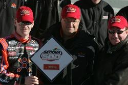 Pole winner Jeff Burton celebrates