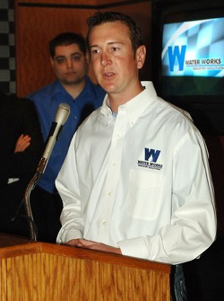 Kurt Busch, and former Water Works employee, talks of water conservation at the NASCAR Cafe at the Sahara Hotel