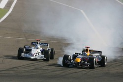 David Coulthard and Nick Heidfeld battle