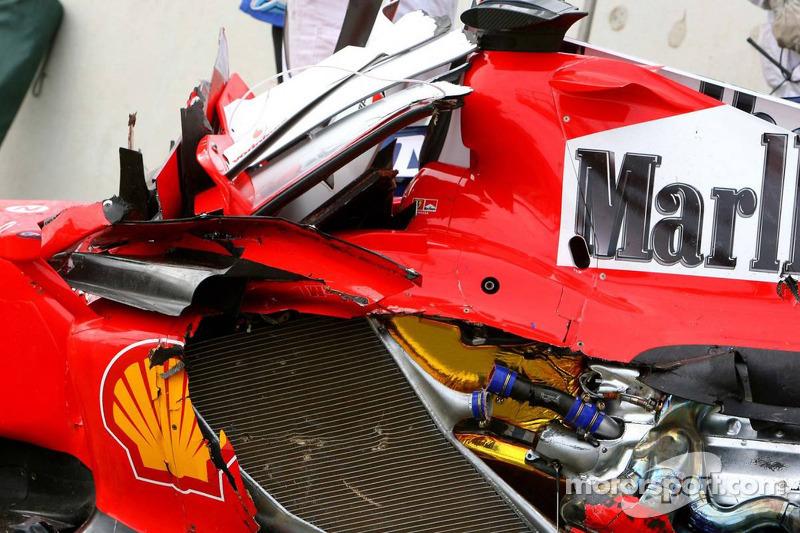 Wrecked car of Felipe Massa