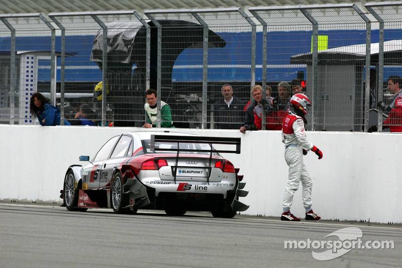 Frank Stippler juste après la fin de course après s'être arrêté