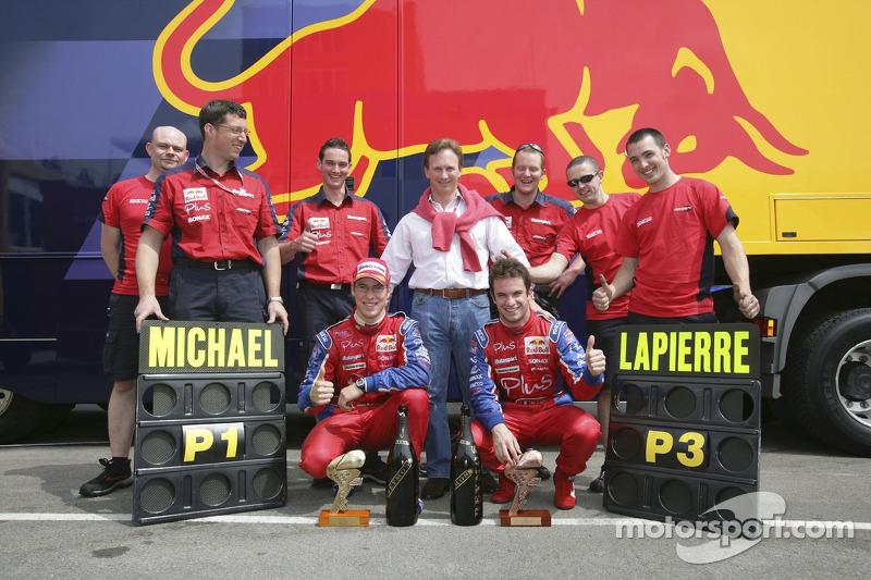 Christian Horner, Michael Ammermuller et Nicolas Lapierre et l'équipe Arden International