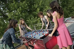 Chilled Thursday: the Formula Unas girls in the Red Bull Energy Station playing tabletop soccer