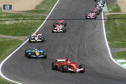 Felipe Massa leads Fernando Alonso