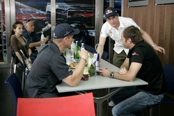 Scott Speed and Gerhard Berger in the Red Bull Energy Station