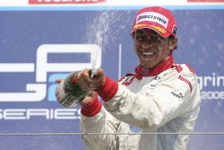 Lewis Hamilton, race winner sprays champagne