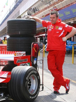 A Ferrari team member