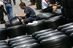 Scuderia Toro Rosso prepare their Michelin tires