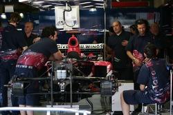 Team Scuderia Toro Rosso team prepare their cars