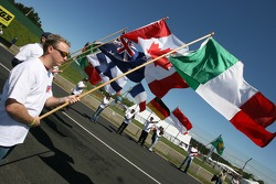 Colorful flags on the starting grid