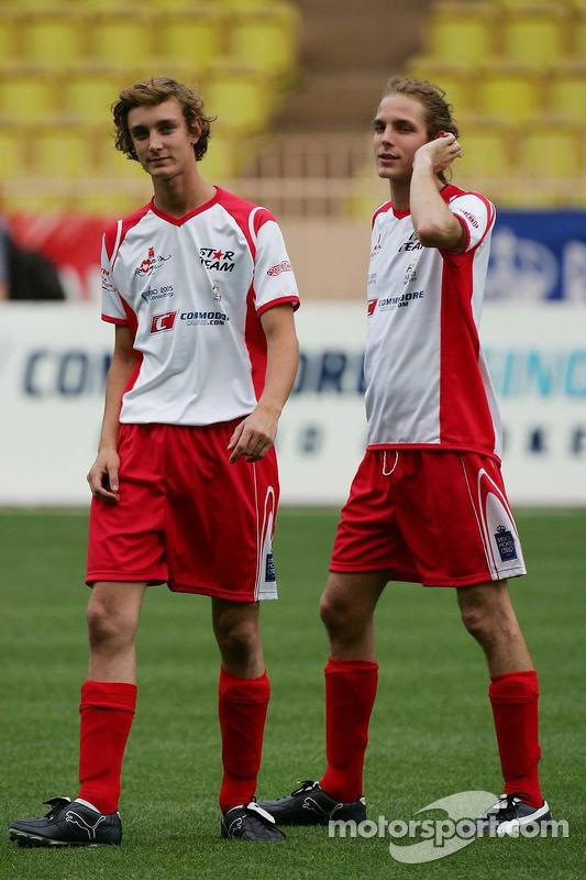 Match de football de charité: Andrea Casiraghi et Pierre Casiraghi, les fils de la princesse Caroline et les neveux du Prince Albert II de Monaco