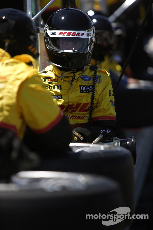 Penske Motorsports crew member waits for next pitstop