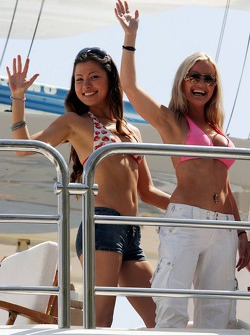 Girls on a yacht in the Harbour of Monaco
