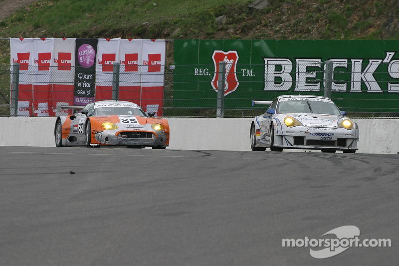 #85 Spyker Squadron Spyker C8 Spyder GT-2R: Jeroen Bleekemolen, Mike Hezemans and #90 Farnbacher Racing Porsche 996 GT3 RSR: Pierre Ehret, Dominik Farnbacher