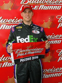 Denny Hamlin wins the Budweiser Pole Award