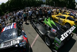 Fans watch cars at scrutineering