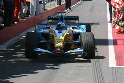 Race winner Fernando Alonso enters Parc Fermé
