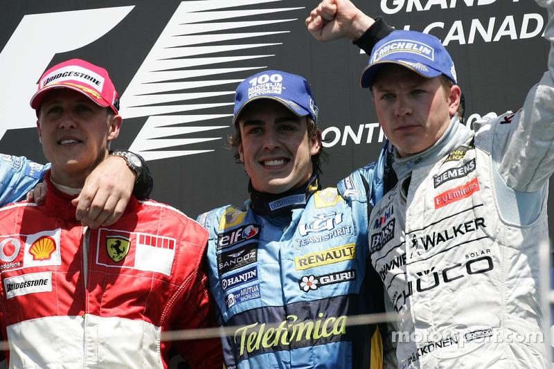 2006: 1. Фернандо Алонсо, 2. Михаэль Шумахер, 3. Кими Райкконен