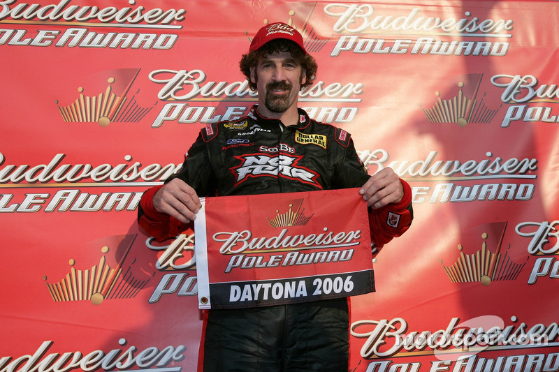 Boris Said celebrates win the Bud Pole Award for the NASCAR Nextel Cup Series Pepsi 400
