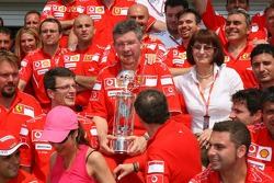 Victory celebration at Ferrari: Ross Brawn