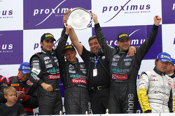 GT1 podium: overall and class winners Eric van de Poele, Michael Bartels and Andrea Bertolini celebrate
