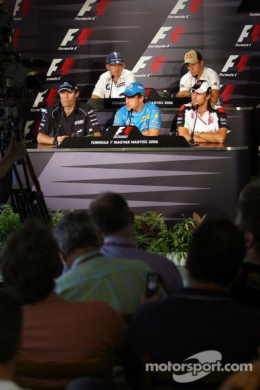 Conferencia de prensa FIA: Mark Webber, Robert Kubica, Christian Klien y Fernando Alonso, Jenson But