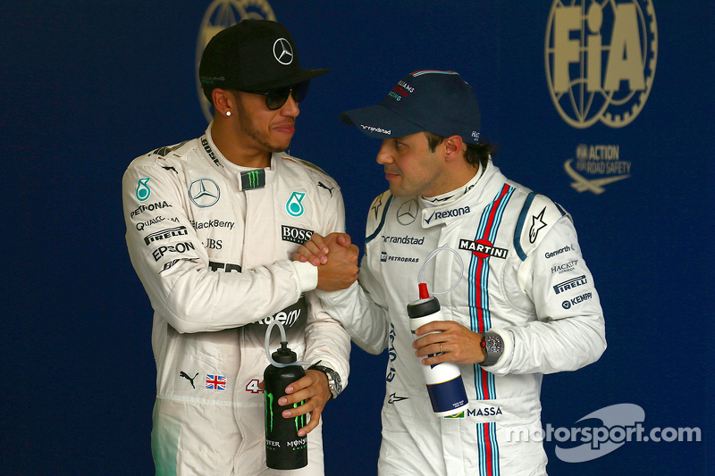Pole winner Lewis Hamilton, Mercedes AMG F1 and Third place Felipe Massa, Williams F1 Team