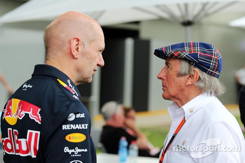 Adrian Newey, Capo dell'Ufficio Tecnico di Red Bull Racing con Jackie Stewart (GBR)