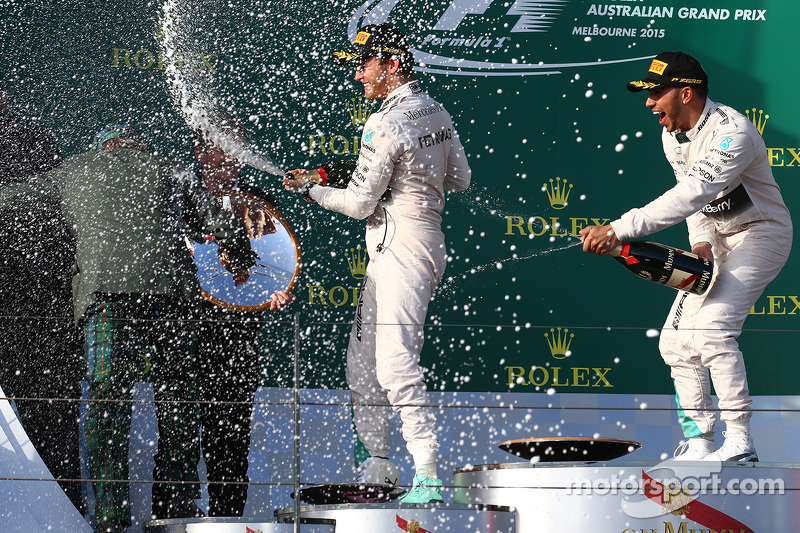 Race winner Lewis Hamilton, Mercedes AMG F1, second place Nico Rosberg, Mercedes AMG F1 W07