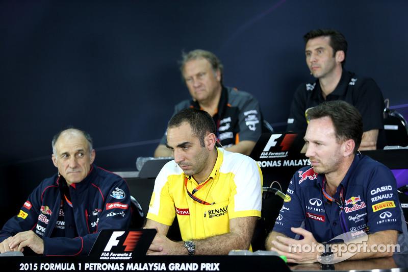 Cyril Abiteboul, Geschäftsführer Renault Sport F1, und Christian Horner, Sportdirektor Red Bull Raci
