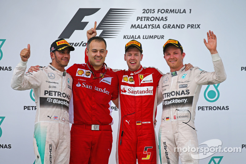 2015 : 1. Sebastian Vettel, 2. Lewis Hamilton, 3. Nico Rosberg