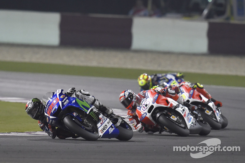 Jorge Lorenzo, Yamaha Factory Racing and Andrea Dovizioso and Andrea Iannone, Ducati Team and Valent