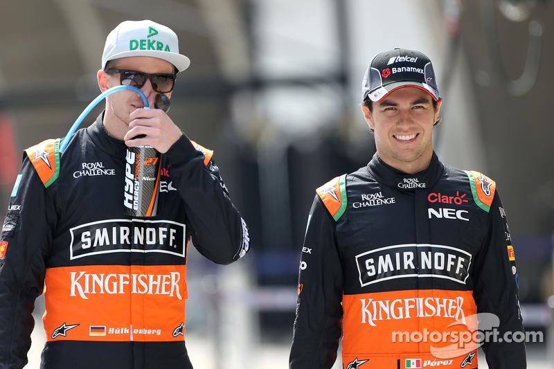 Sergio Perez, Sahara Force India, dan Nico Hulkenberg, Sahara Force India