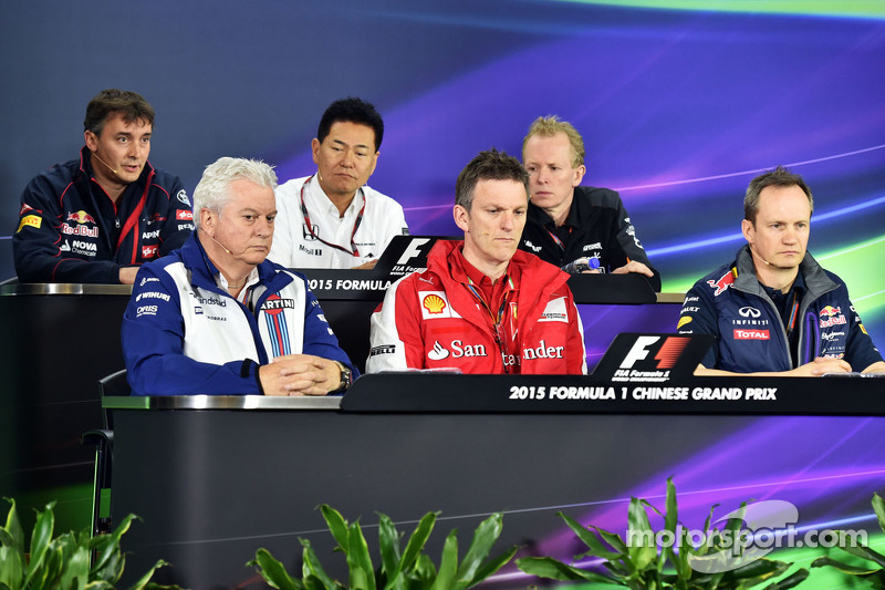 FIA Press Conference,): James Key, Scuderia Toro Rosso Technical Director; Ayao Komatsu, Lotus F1 Team Race Engineer; Andrew Green, Sahara Force India F1 Team Technical Director; Pat Symonds, Williams Chief Technical Officer; James Allison, Ferrari Ch