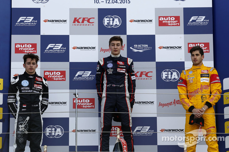 Podium: second place Charles Leclerc, Van Amersfoort Racing and winner George Russell, Carlin and An