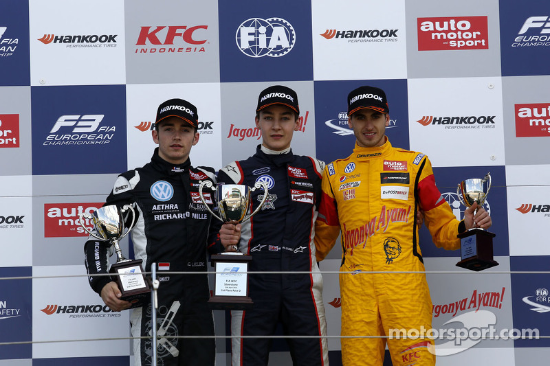 Podium: second place Charles Leclerc, Van Amersfoort Racing and winner George Russell, Carlin and th