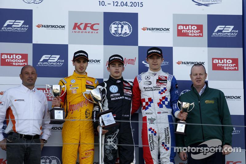 Podium: second place Antonio Giovinazzi, Jagonya Ayam with Carlin and race winner Charles Leclerc, Van Amersfoort Racing and third place Jake Dennis, Prema Powerteam