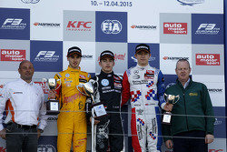 Podium: second place Antonio Giovinazzi, Jagonya Ayam with Carlin and race winner Charles Leclerc, Van Amersfoort Racing and third place Jake Dennis, Prema Powerteam