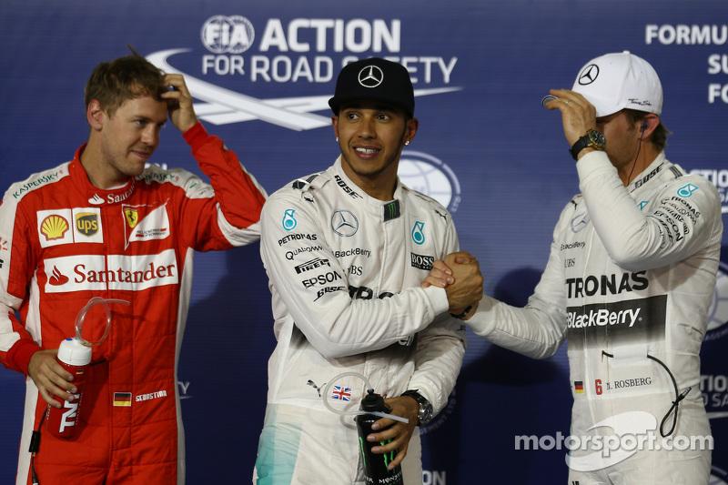 Pole for Lewis Hamilton, Mercedes AMG F1, 2nd for Sebastian Vettel, Ferrari SF15-T and 3rd for Nico