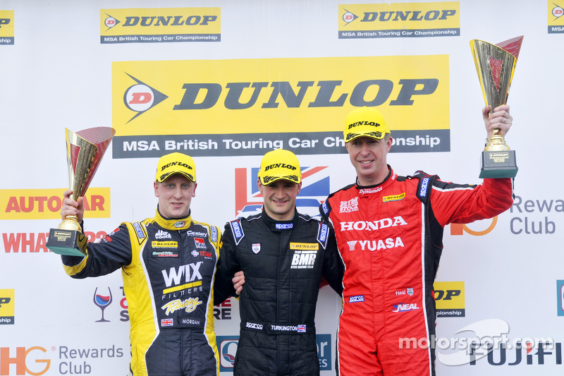 Podium: race winner Colin Turkington, second place Matt Neal, third place Adam Morgan