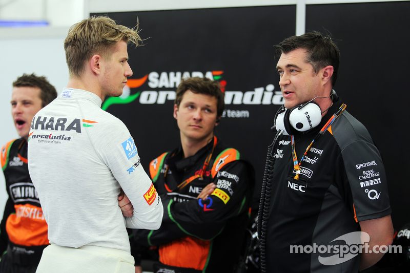 Nico Hülkenberg, Sahara Force India F1, mit Bradley Joyce, Sahara Force India F1, Renningenieur