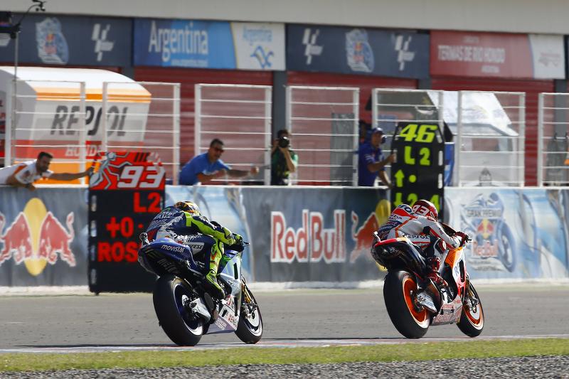 Marc Marquez, Repsol Honda Team, und Valentino Rossi, Yamaha Factory Racing