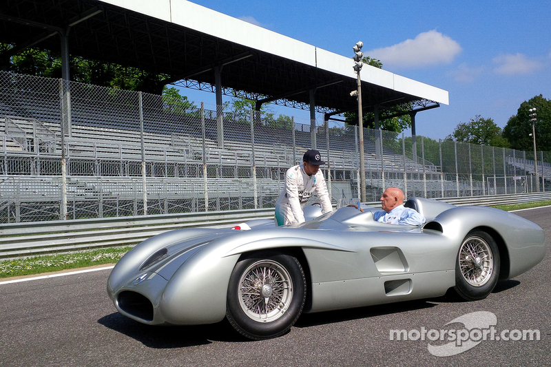 Lewis Hamilton, Mercedes F1, dan Sir Stirling Moss at Monza