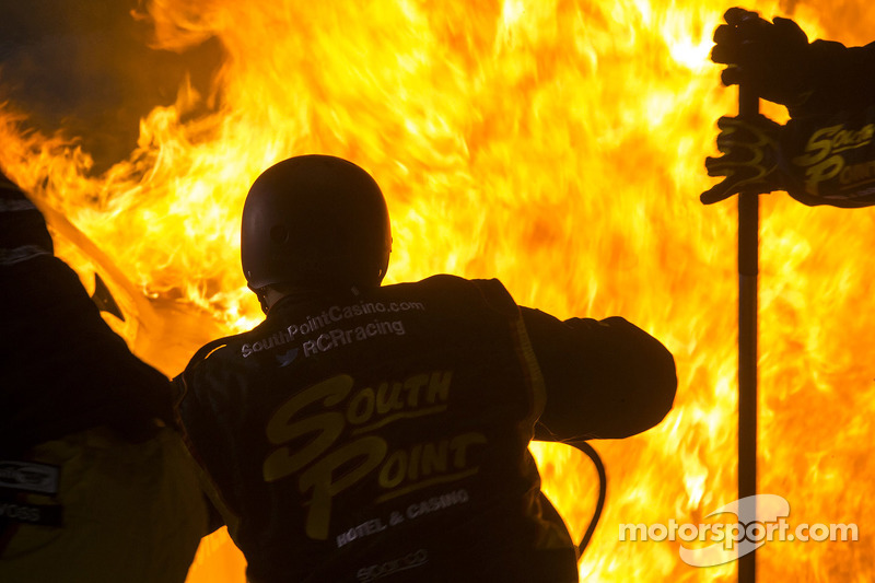 Fire in Brendan Gaughan's pit stall